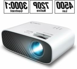ELEPHAS Mini Movie Projector, 4500 LUX Brightness, 50,000 Ho