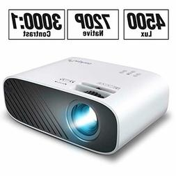 mini movie projector with 4500 lux brightness