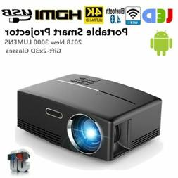 Mini Portable 3000Lumen Android Wifi 3D LED 4K HD 1080p Smar