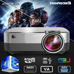 "4"" Mini Portable LED Projector 1080P 5000Lumens Multimedia V"