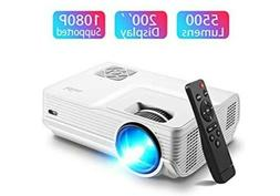 Mini Projector,5500 Lumen 1080P, Home Projectors,200''Displa