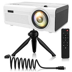 QKK 2400Lumens Mini Projector - Home Theater Projector for I
