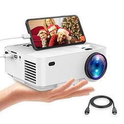 Mini Projector, DBPOWER 2400Lux Synchronizing Smartphone Scr