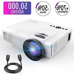 Mini Projector,2018 Upgraded LED Video Projector +70% Bright