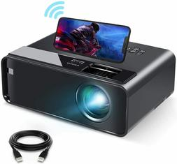 Mini Projector for iPhone, ELEPHAS 2020 WiFi Movie with Blac