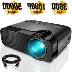 "ELEPHAS Mini Projector, Full HD 1080P 180"" Display, 4000 Lux"