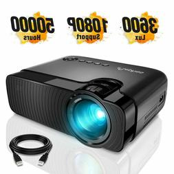 "ELEPHAS Mini Projector, Full HD 1080P and 180"" Display, 3600"