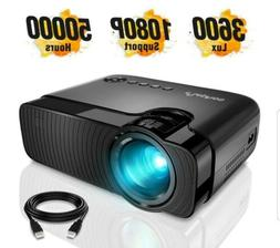 "Mini Projector, Full HD 1080P and 180"" Display, 3600 Lux Por"