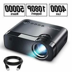 "ELEPHAS Mini Projector, Full HD 1080P and 180"" Display, 4000"