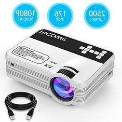 Mini Projector, Picowe Upgraded Version 2500 Lumens Full HD