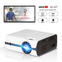 """DOACE P3 HD 1080P Video Projector with Portable Screen 100"""""""