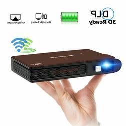 Wireless 3D WiFi Projector DLP 1080P HD Smart Pocket Size Ho