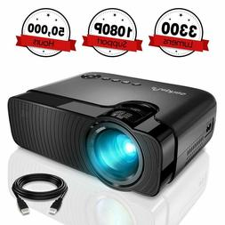 ELEPHAS Portable LED Projector HD 1080P 3300 Lumen HDMI/USB/