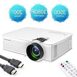 Mini Projector Portable, 1080P Supported 3500 Lux LED Mini P