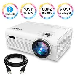 BIGASUO Projector, Portable Bluetooth Projector 2400 Lumens,