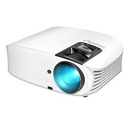 """Projector, ELEPHAS  1080P LCD Video Projector 200"""" Support H"""