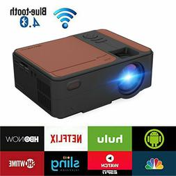 Mini LED Android 6.0 WiFi Projector Blue-tooth Smart Home Th