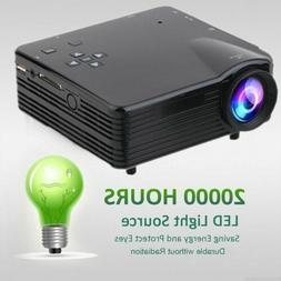 USA HD 1080P 7000 Lumens LED LCD Projector Home Theater PC A