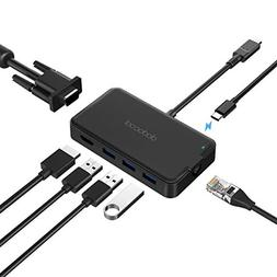 dodocool USB Type C Hub to 4K HD Adapter, Gigabit Ethernet,