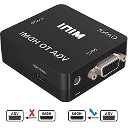 VGA to HDMI, GANA 1080P Full HD Mini VGA to HDMI Audio Video