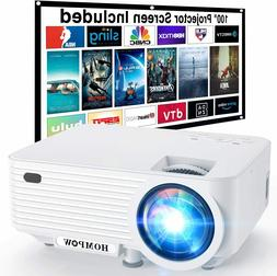 """Video Projector, 4500Lux Portable Mini Projector with 100"""""""