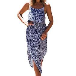 Anxinke Women Beach Long Dress, Floral Print Spaghetti Strap
